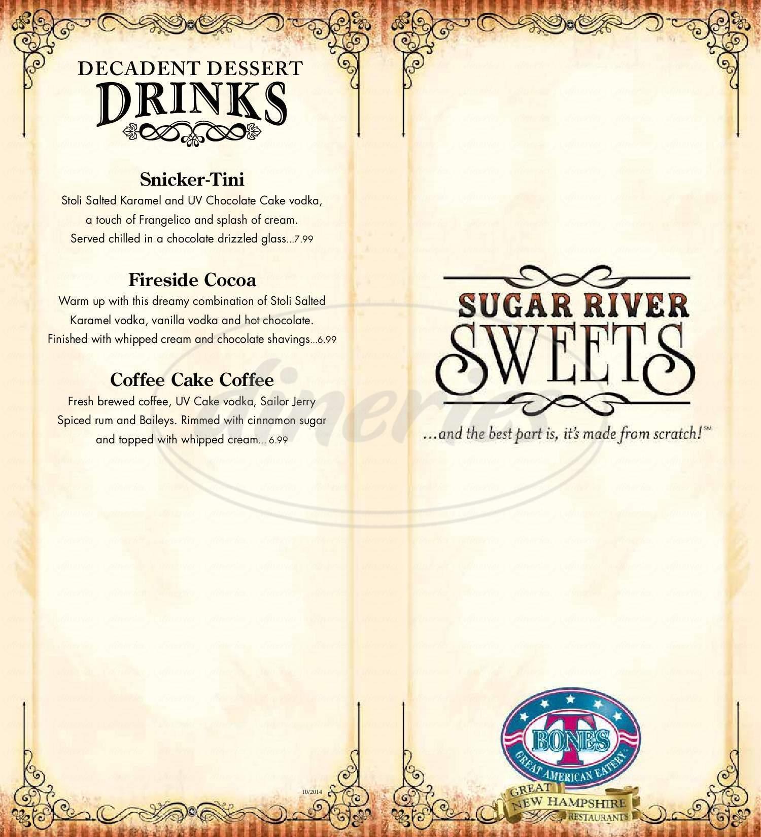 menu for T-BONES Great American Eatery