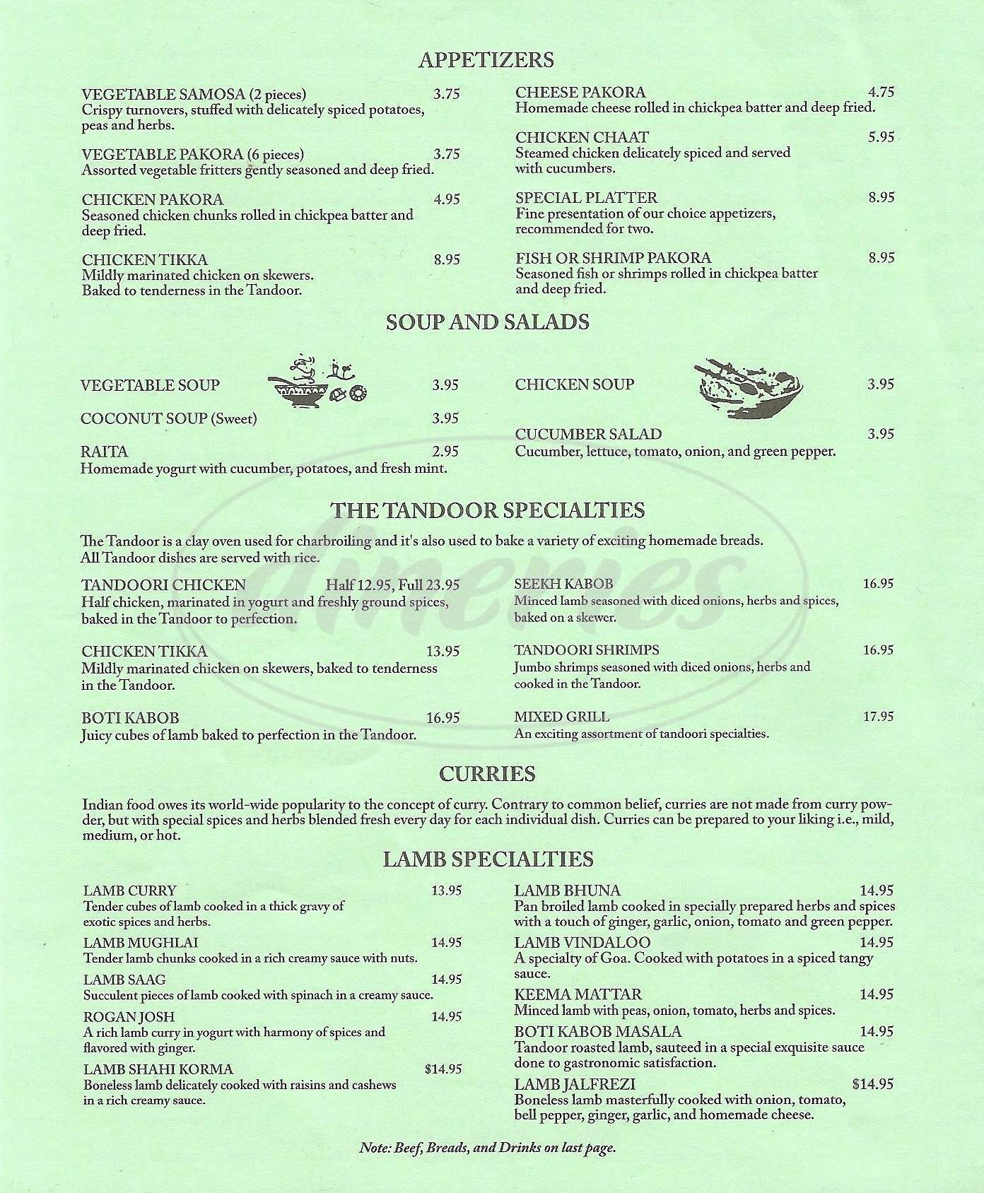 menu for Taste of India
