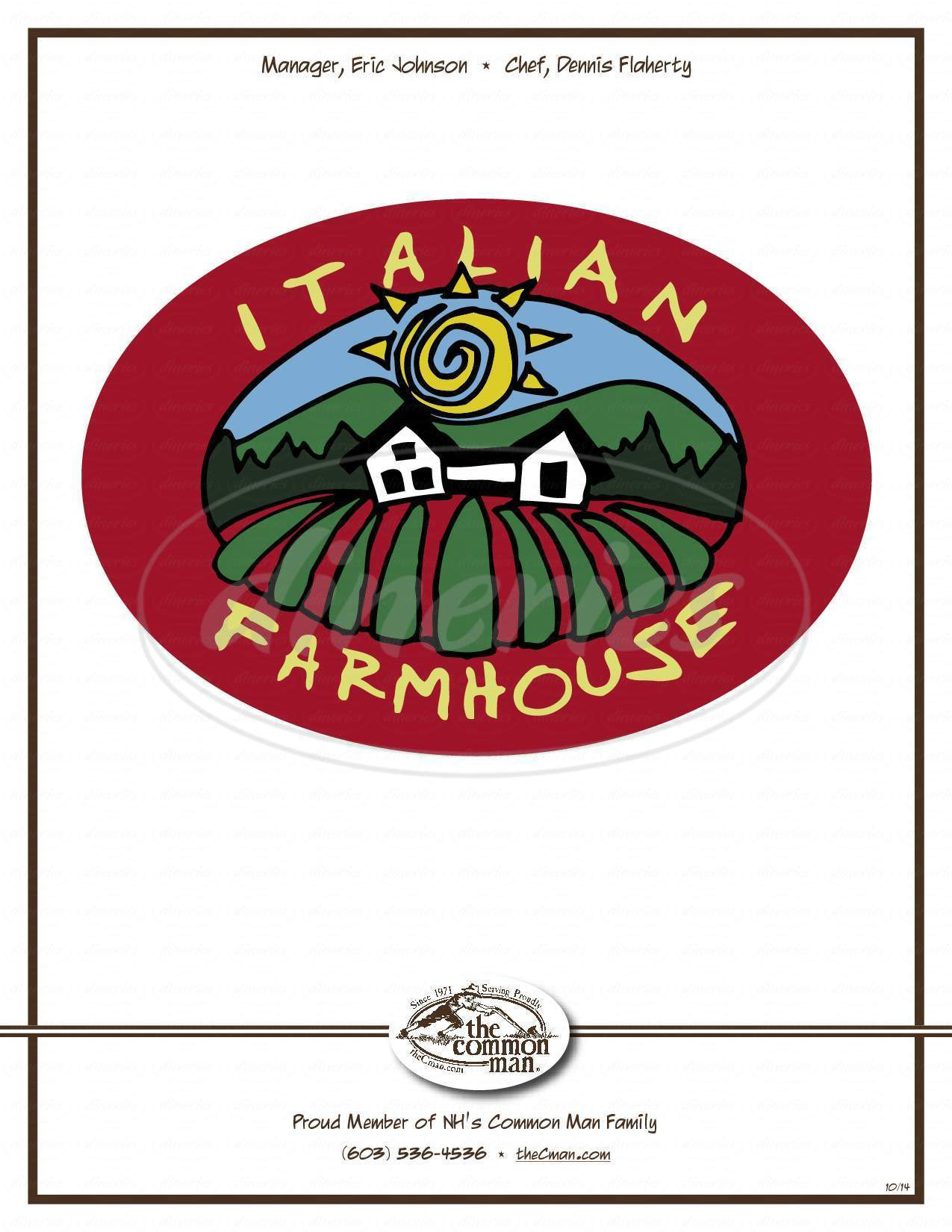 menu for Italian Farmhouse