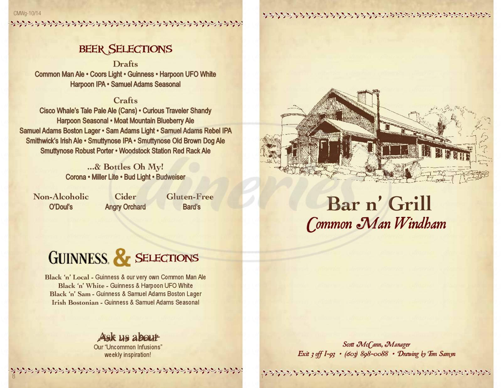menu for The Common Man Restaurant