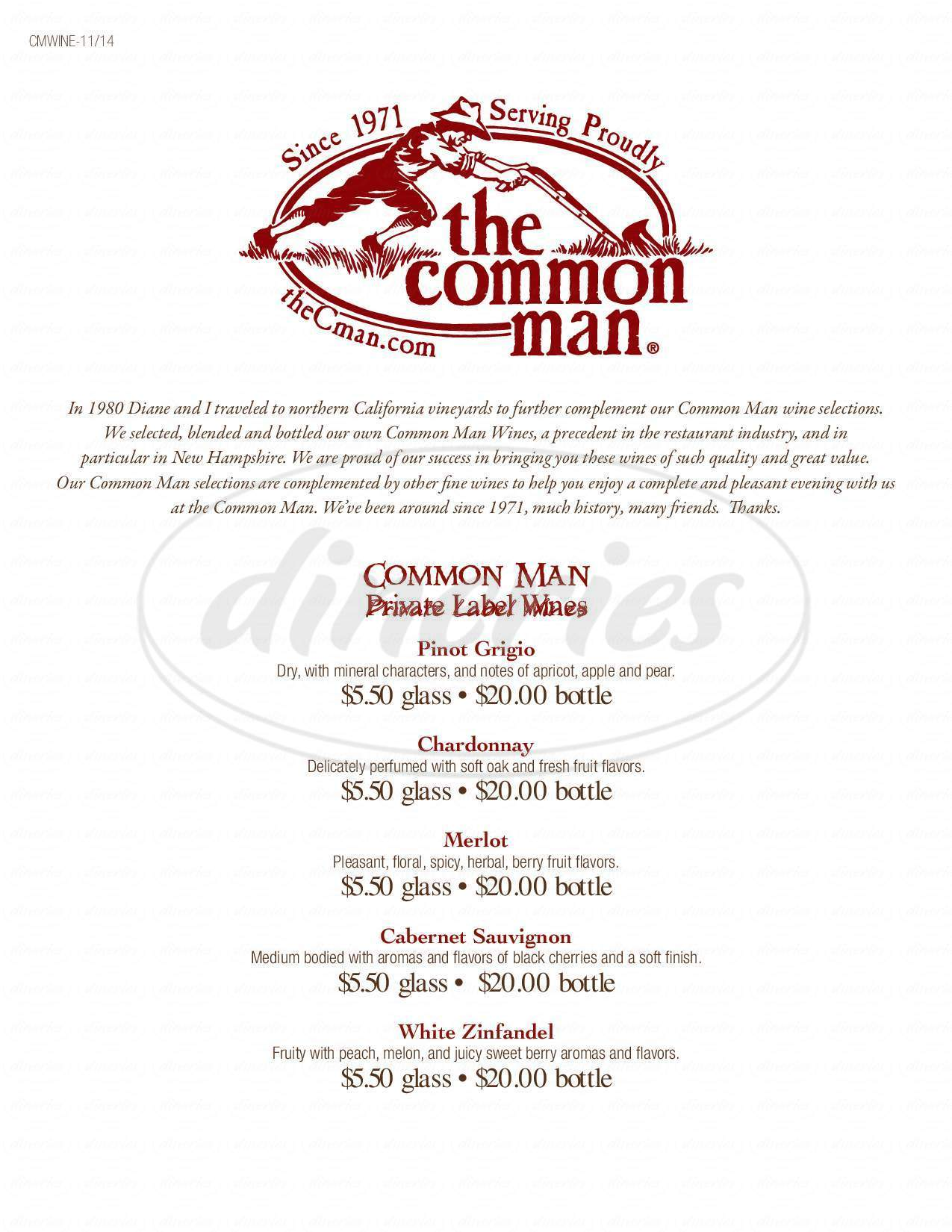 menu for The Common Man