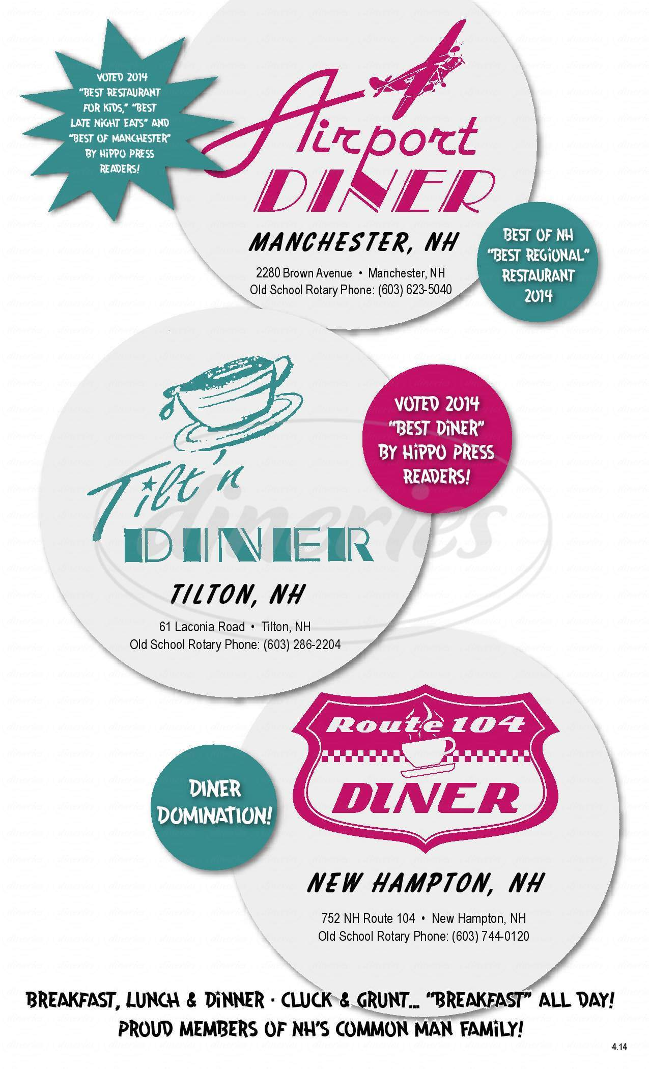 menu for Route 104 Diner