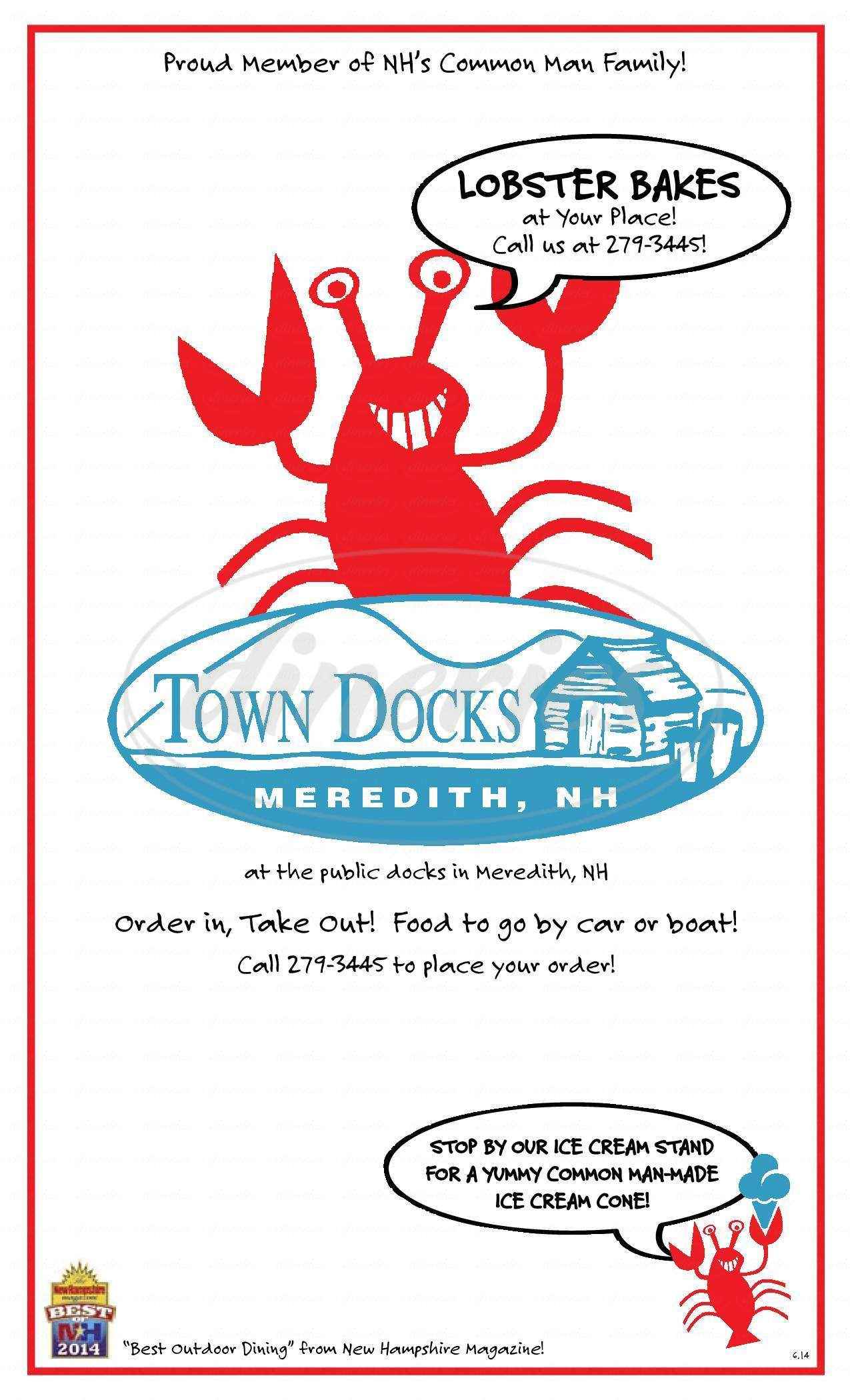 menu for Town Docks Restaurant