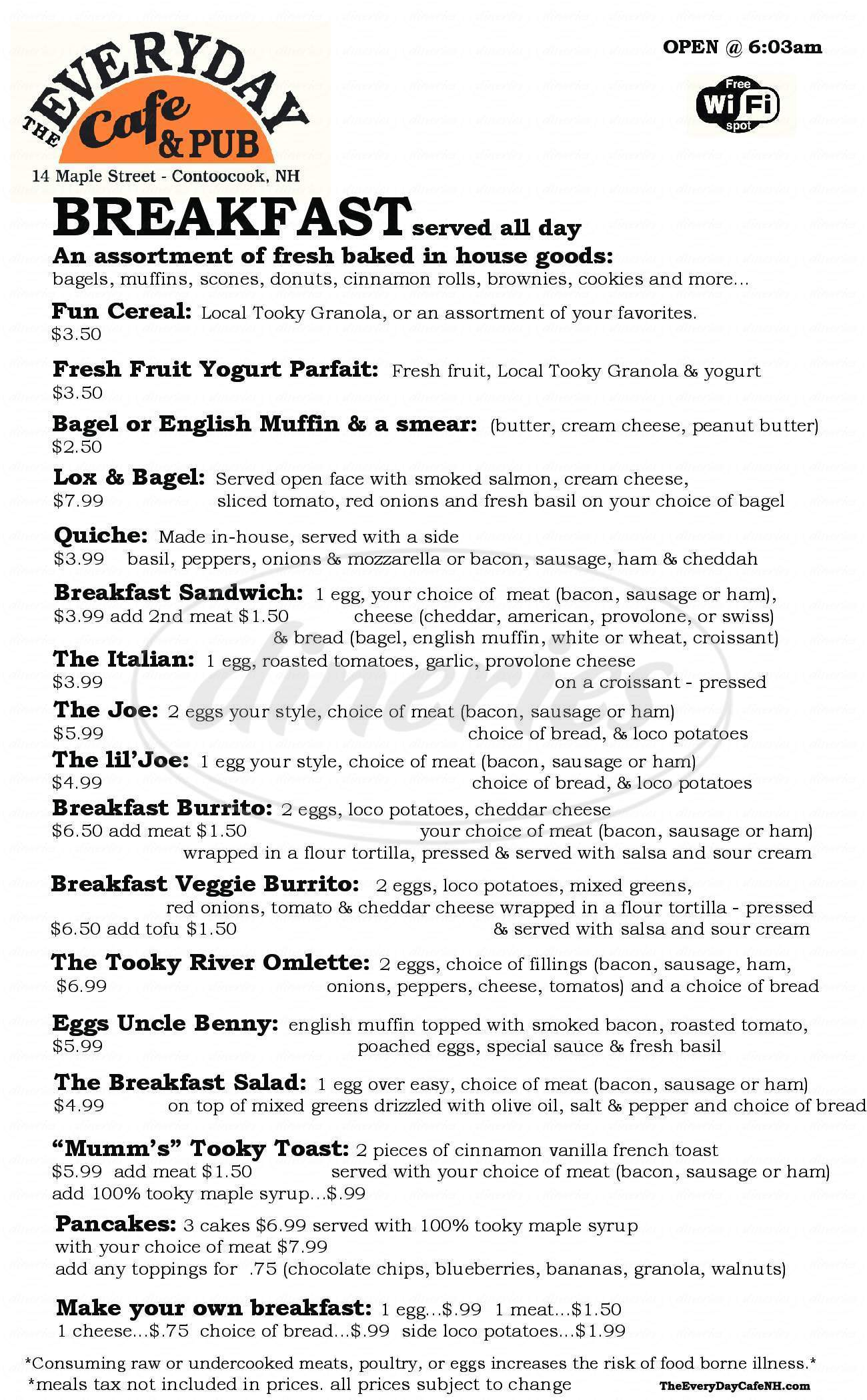 menu for The Everyday Cafe