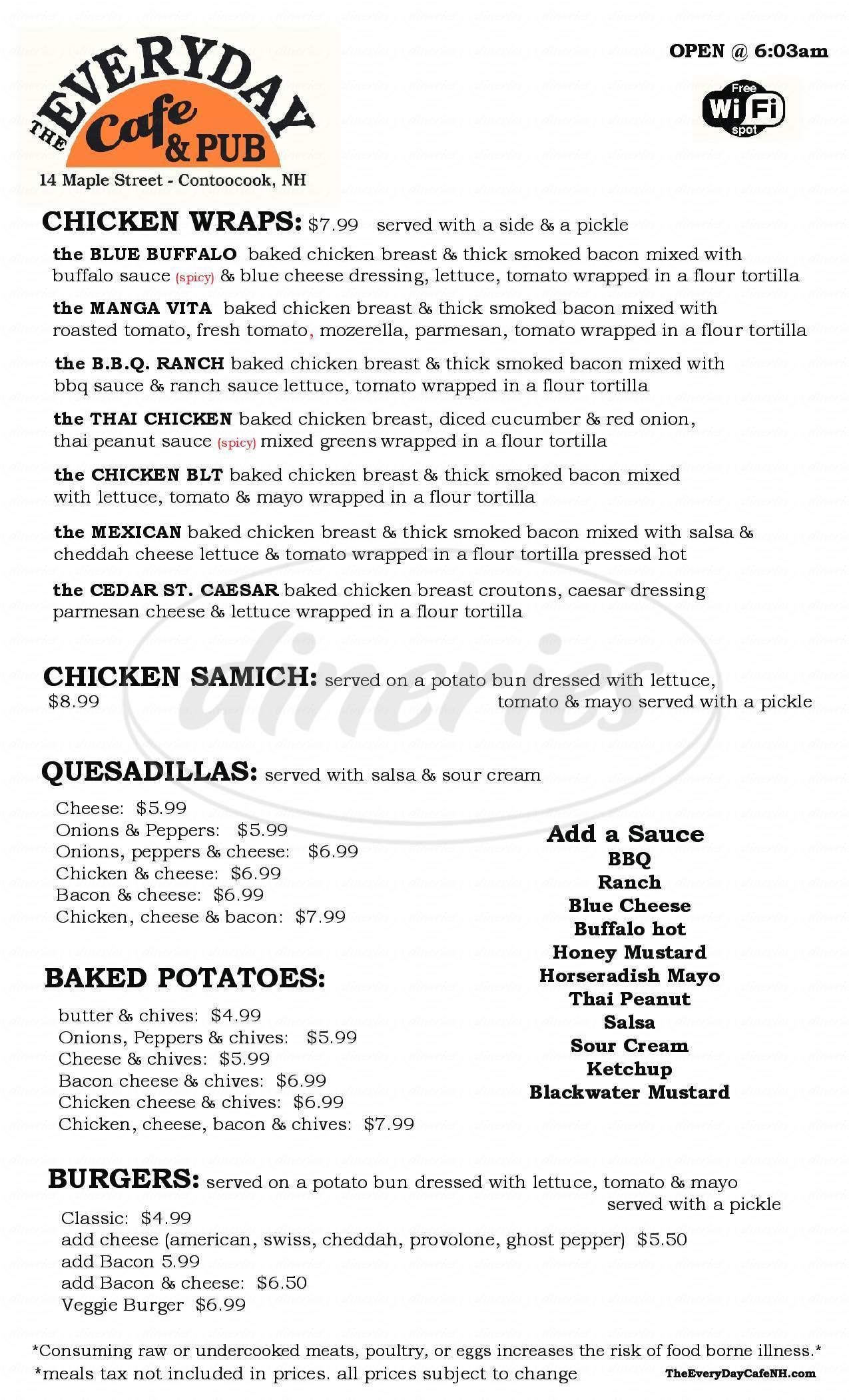 menu for The Everyday Cafe