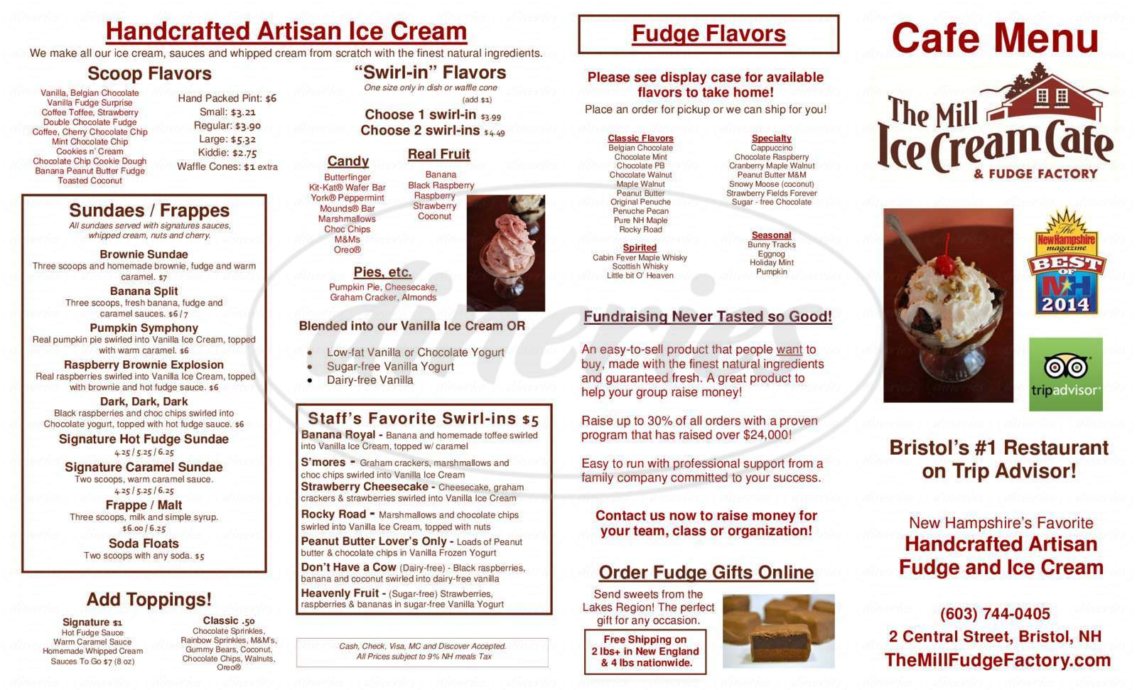 menu for The Mill Fudge Factory and Ice Cream Cafe