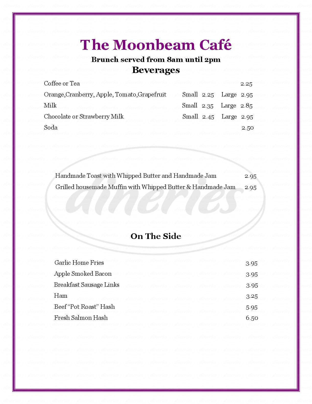 menu for The Moonbeam Cafe