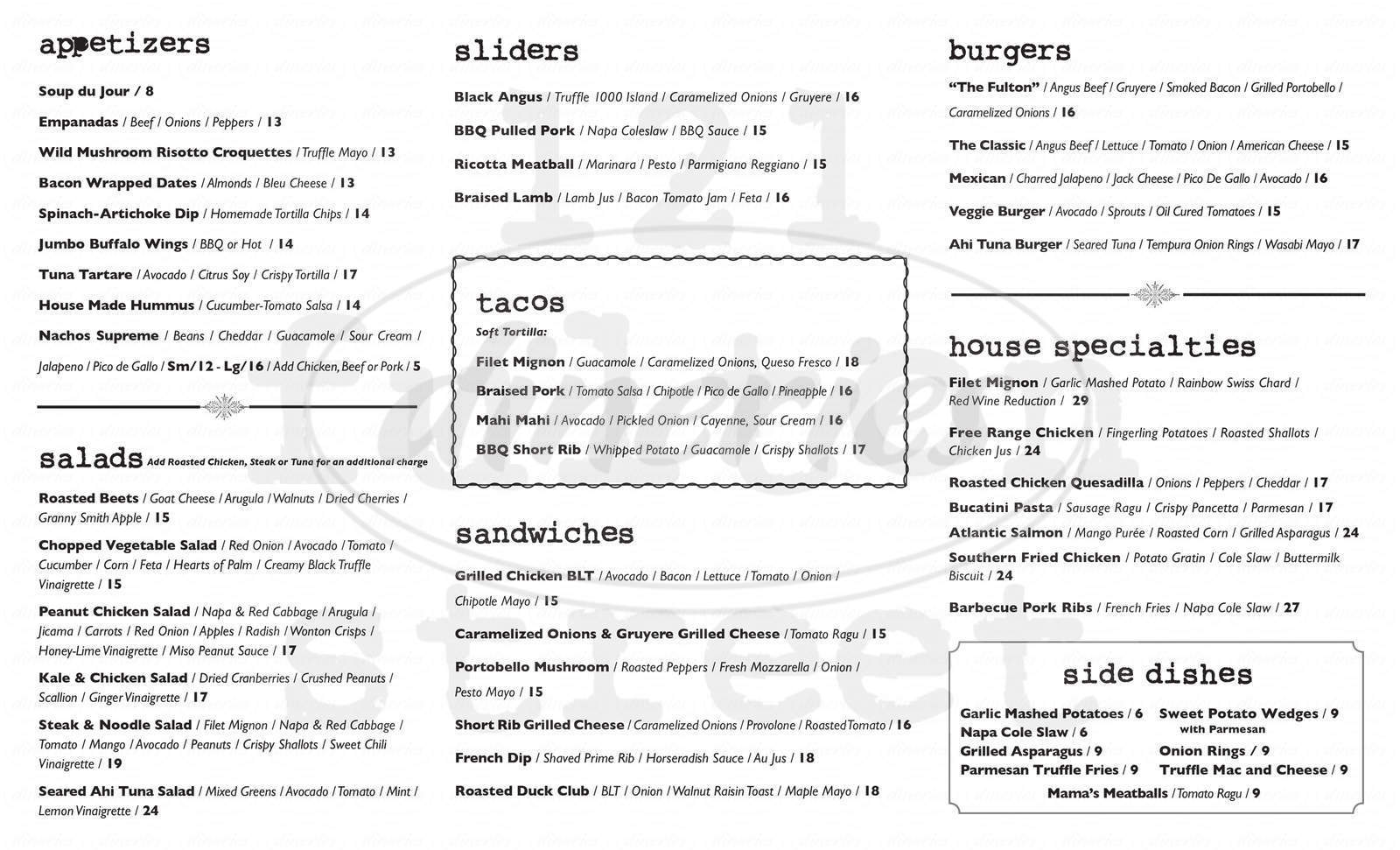 menu for 121 Fulton St