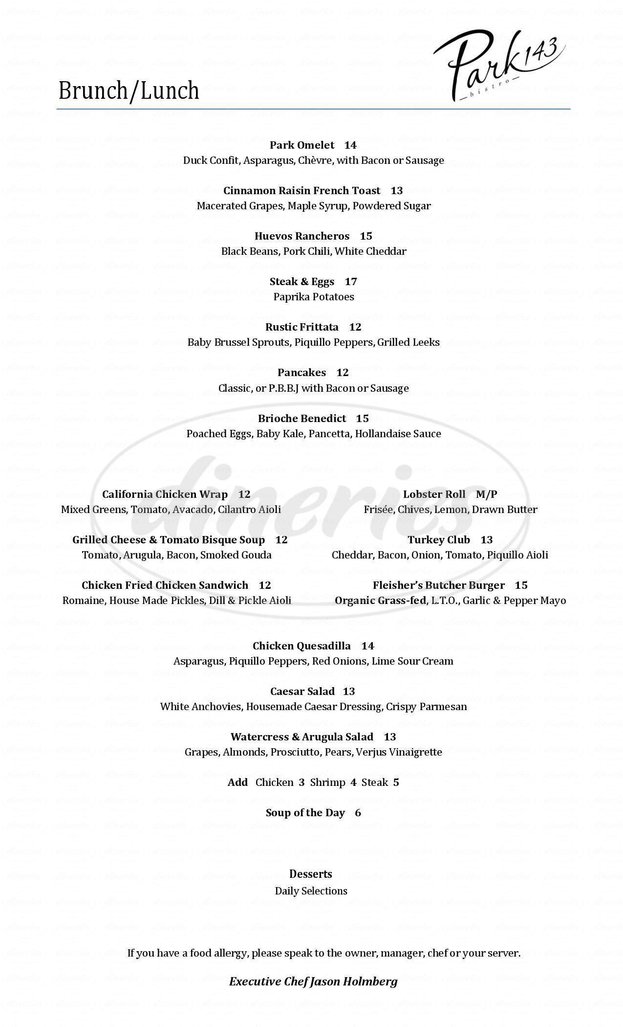 menu for Park 143 Bistro