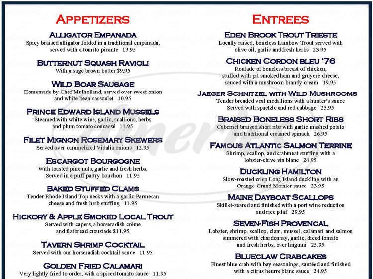 menu for 76 House Restaurant