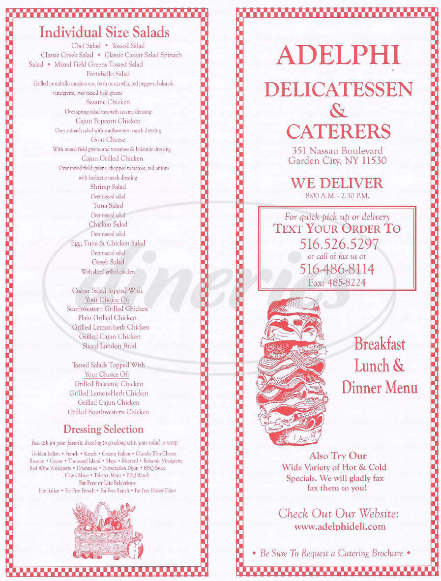 Big menu for Adelphi Delicatessen, Garden City