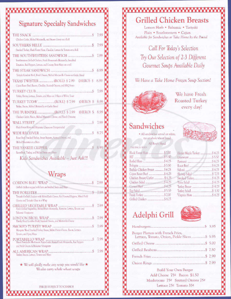 menu for Adelphi Delicatessen