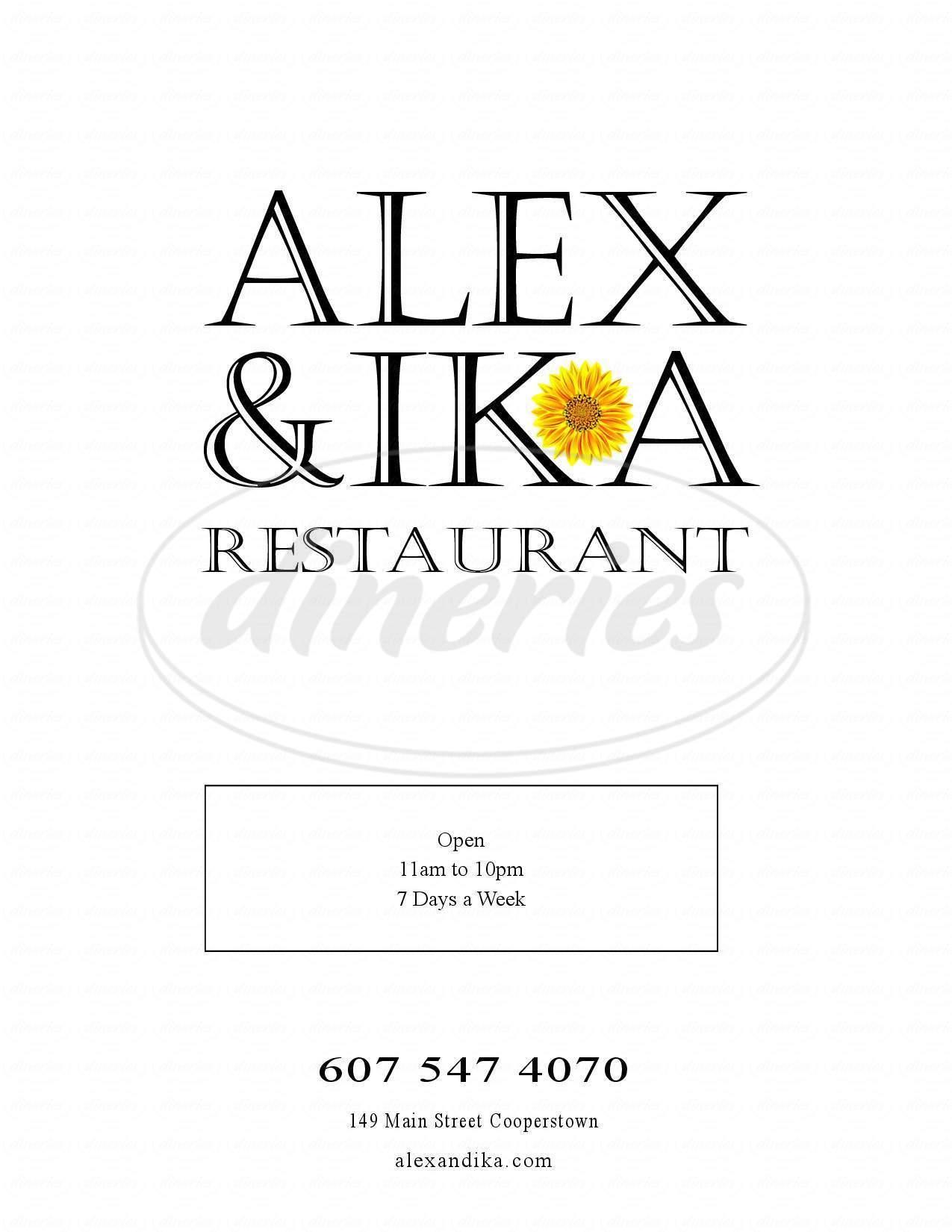 menu for Alex and Ika Restaurant