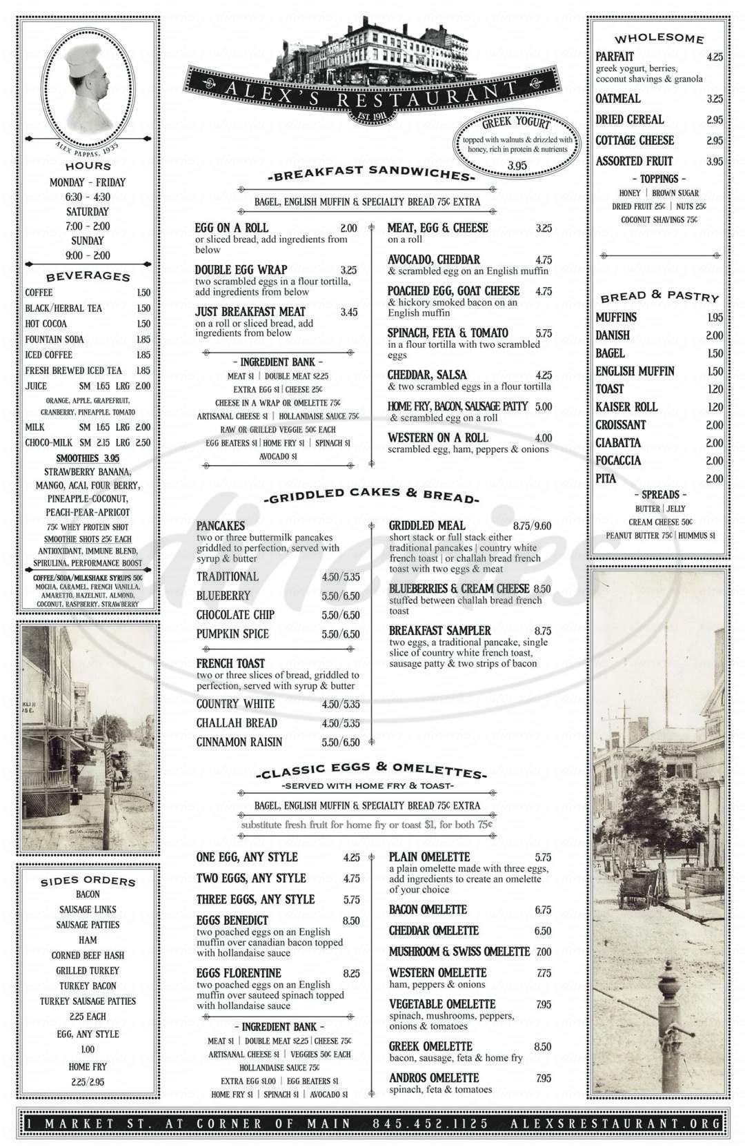 menu for Alex's Restaurant