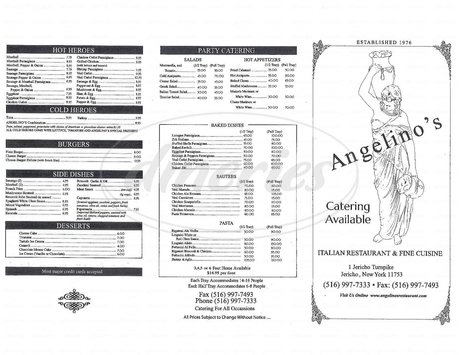 menu for Angelino's Italian Restaurant