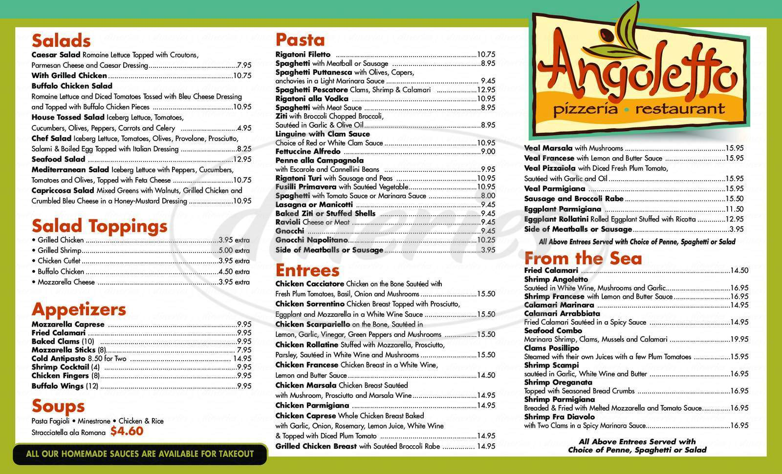 menu for Angoletto Cafe