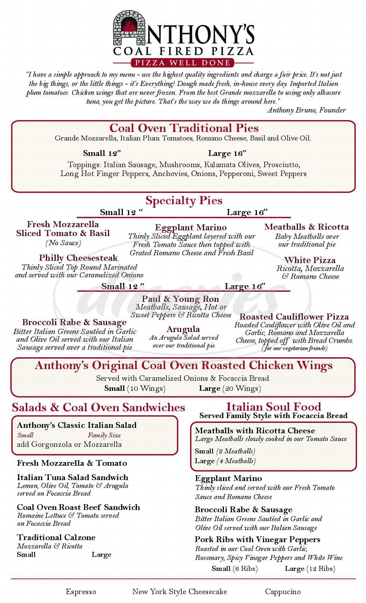 menu for Anthonys Coal Fired Oven Pizza