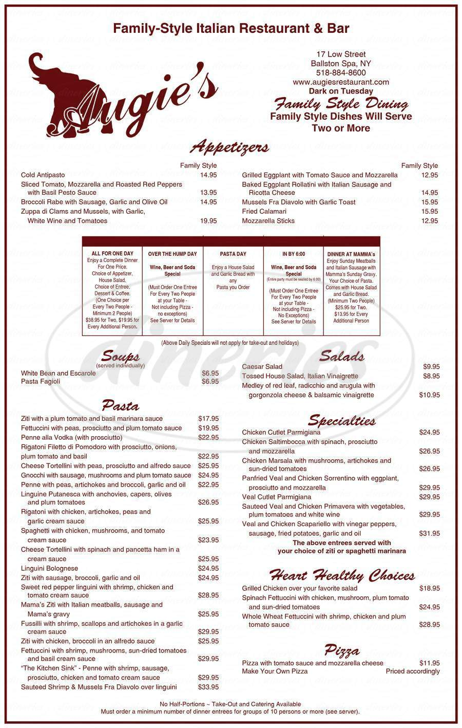menu for Augie's Family Style Italian Restaurant