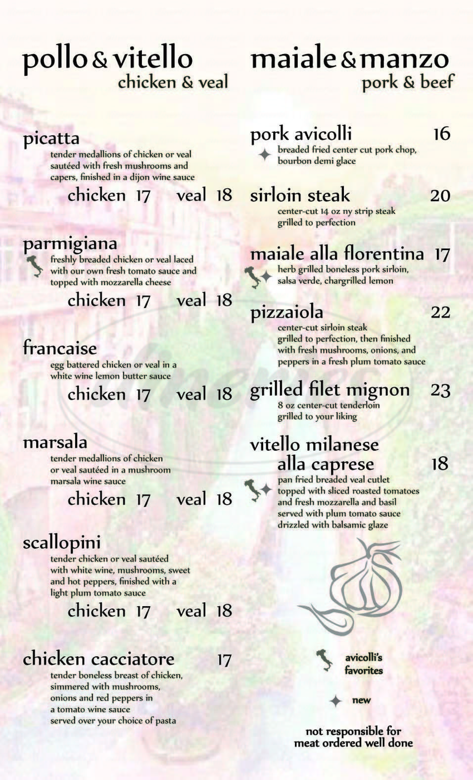 menu for Avicolli's Pizza Restaurant