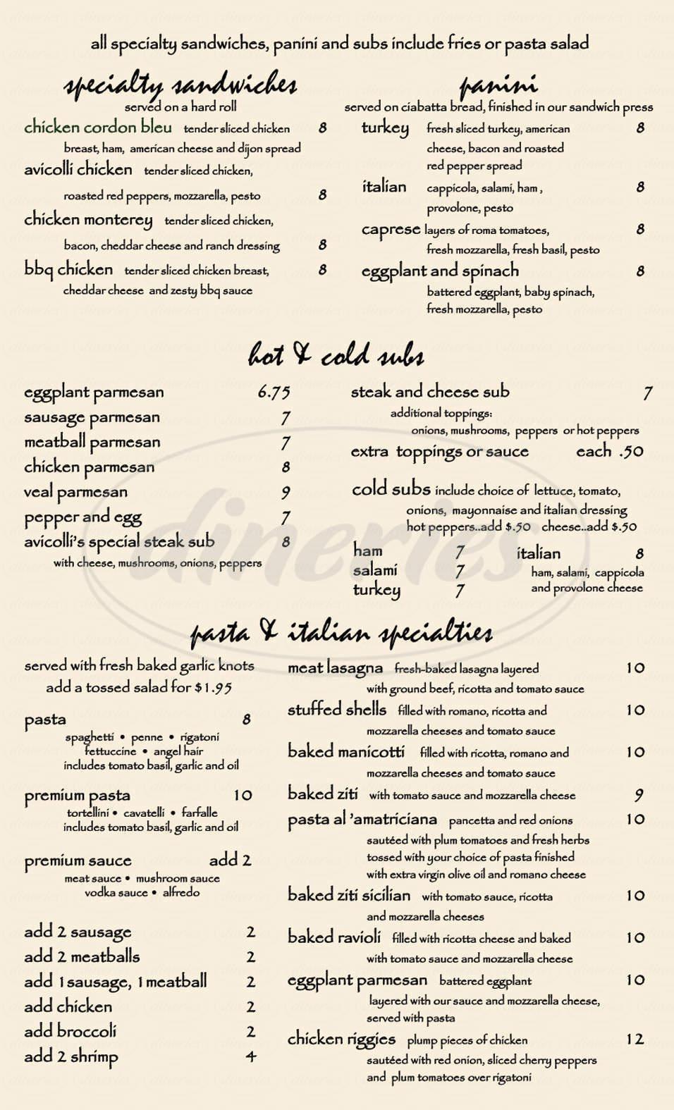 menu for Avicolli's Pizza Restaurant