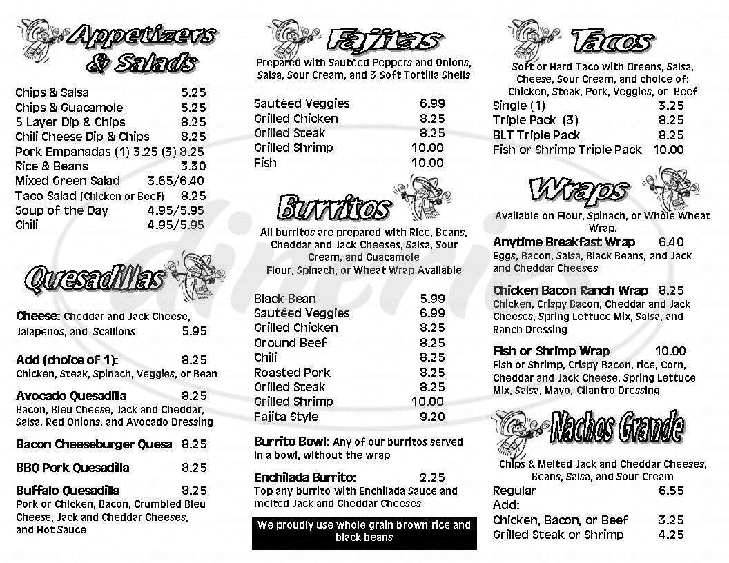 menu for Avocados Mexican American Grill