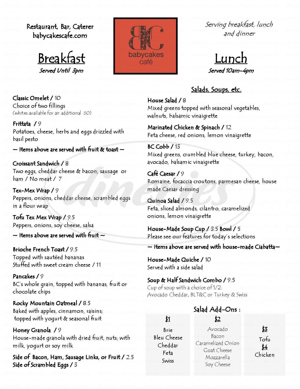 menu for Babycakes Cafe