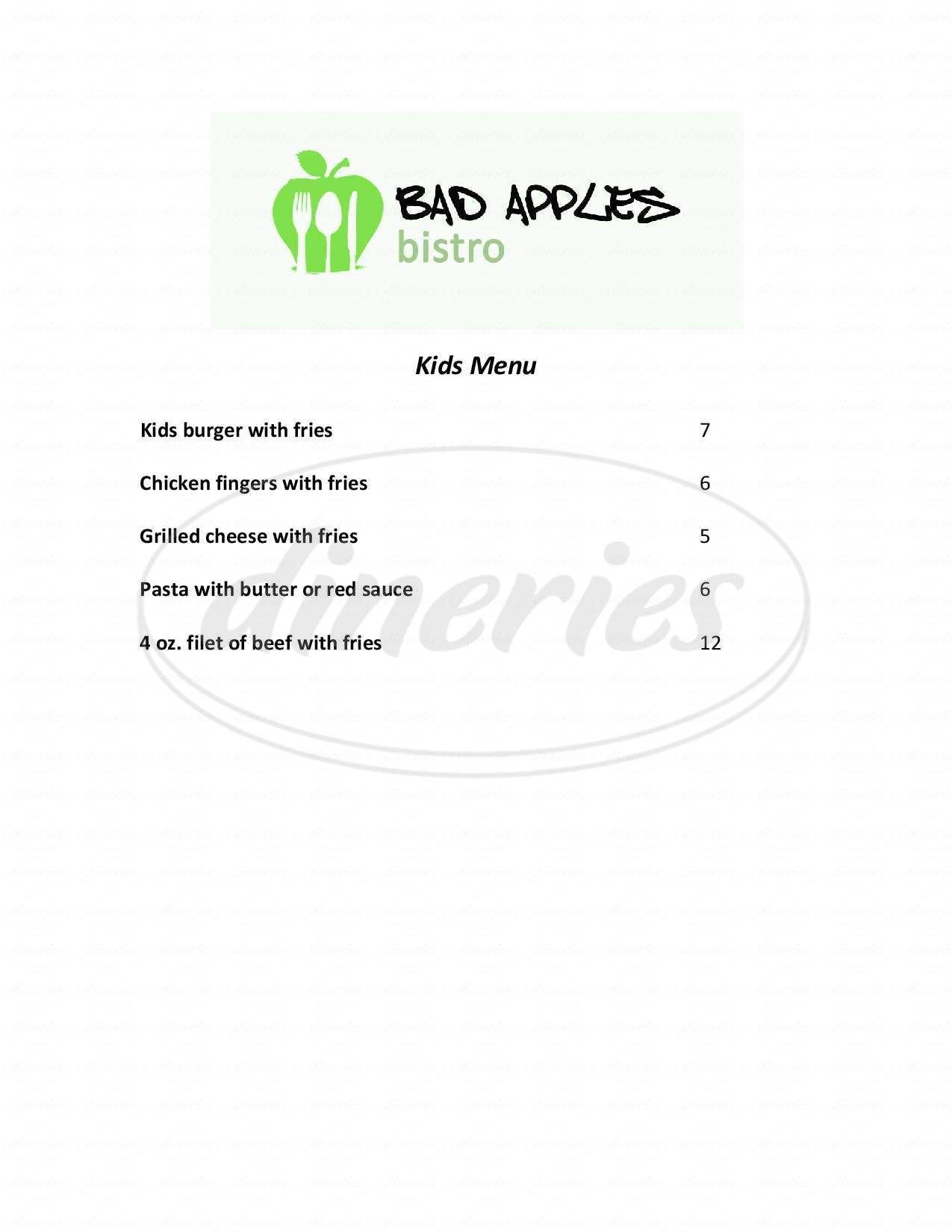 menu for Bad Apple's Bistro