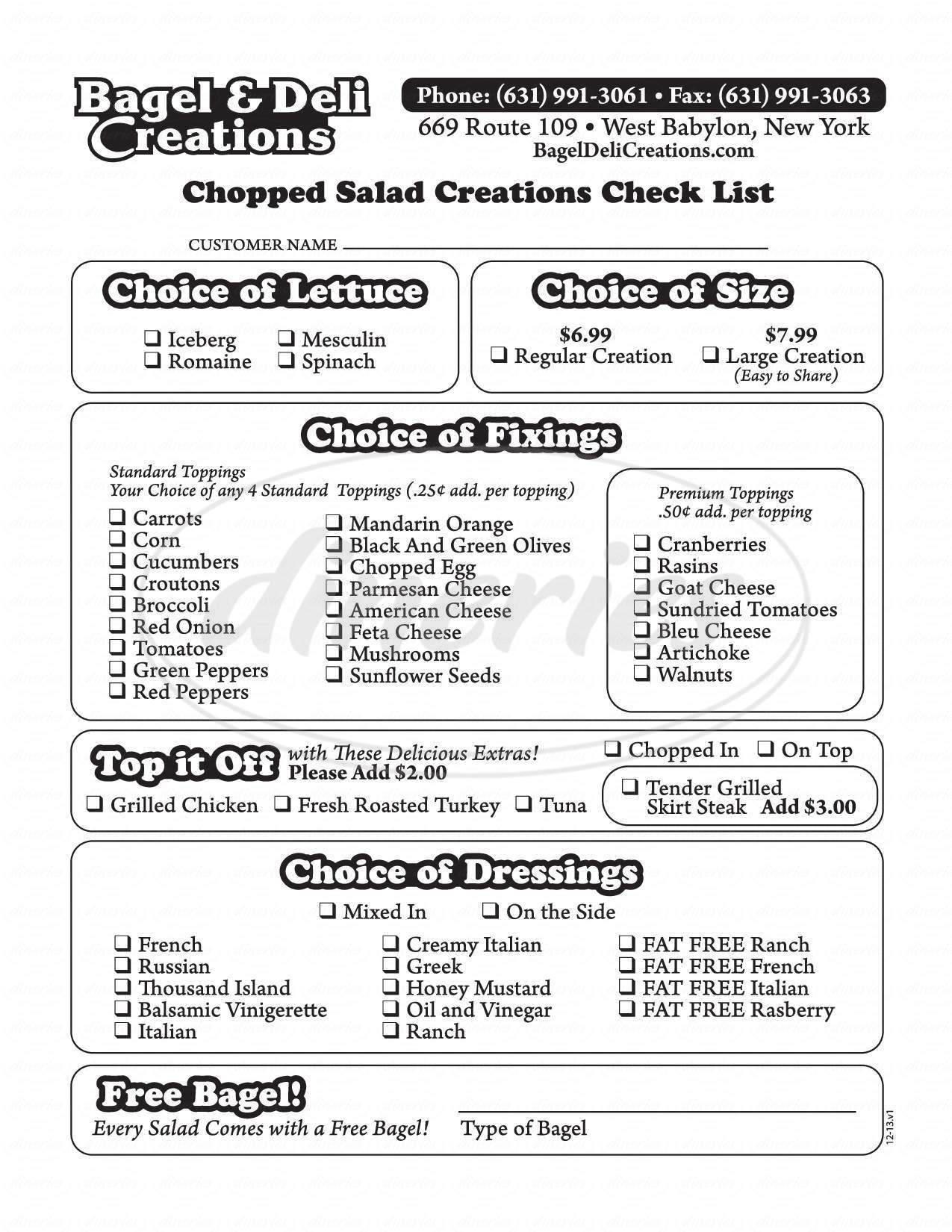 menu for Bagel and Deli Creations