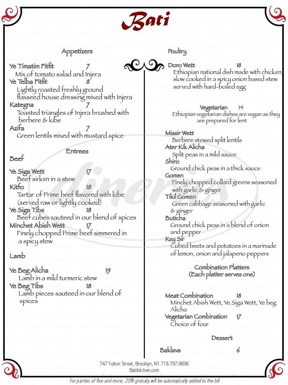menu for Bati