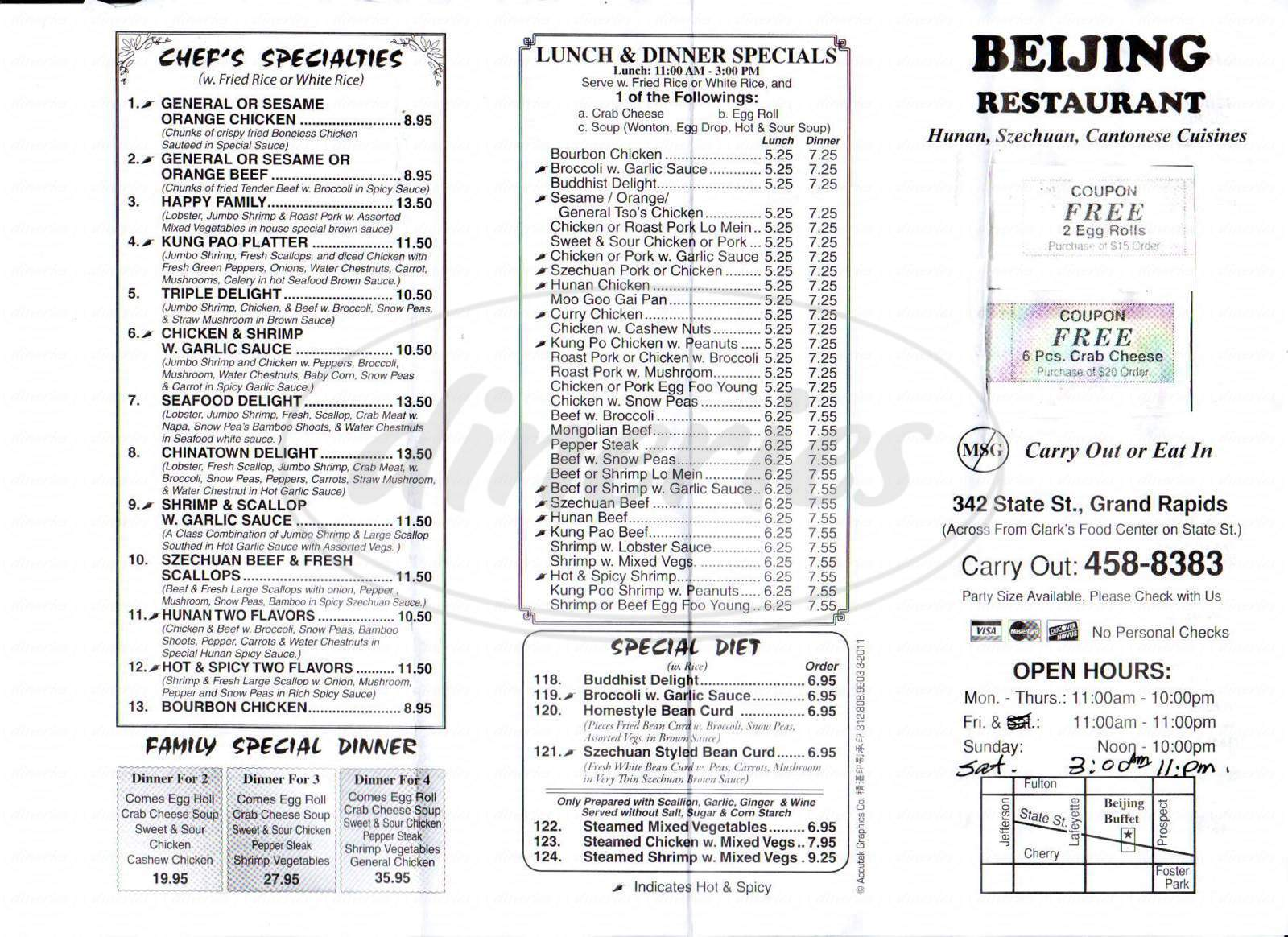 menu for Beijing Restaurant