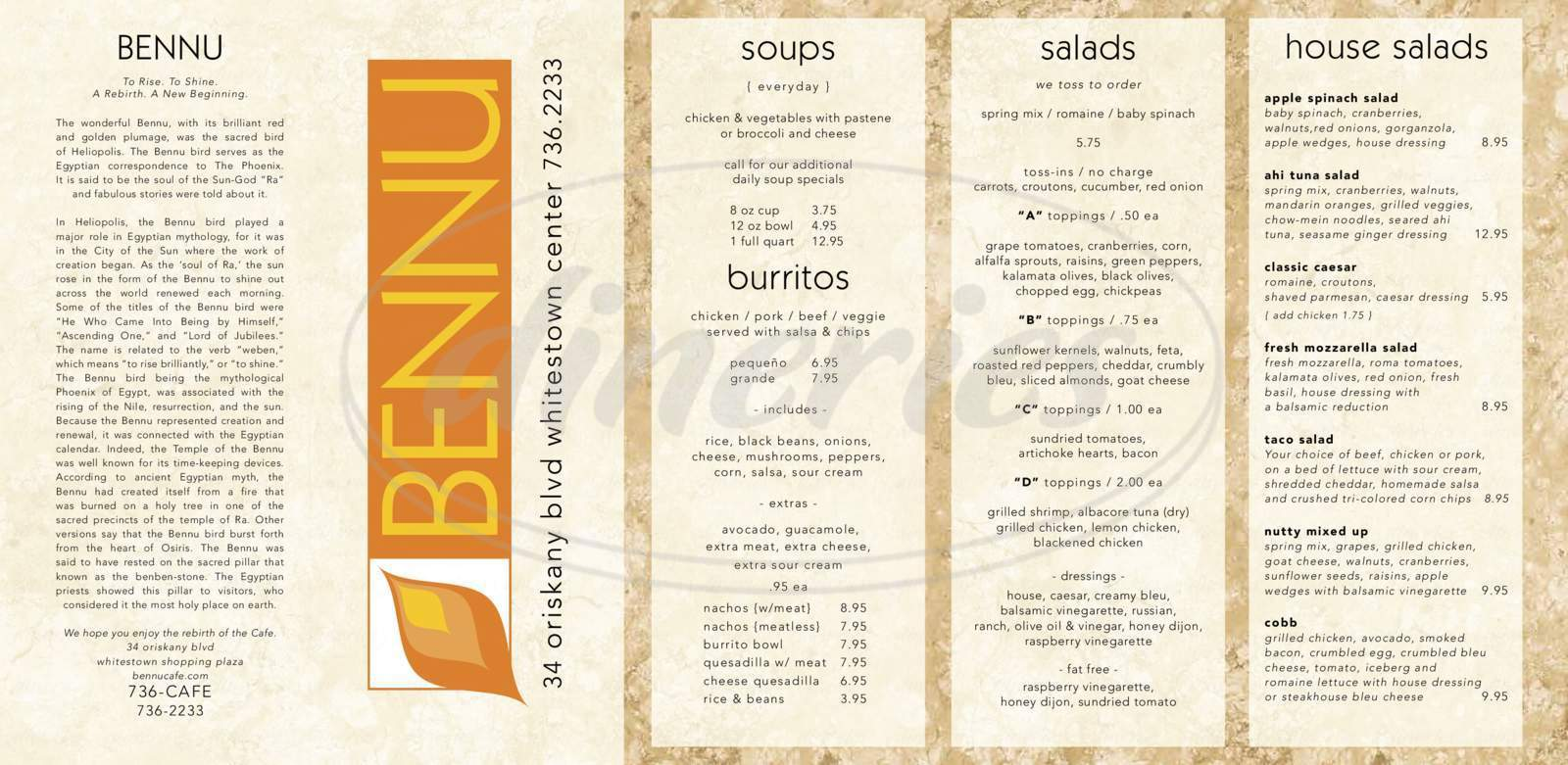 menu for Bennu Cafe