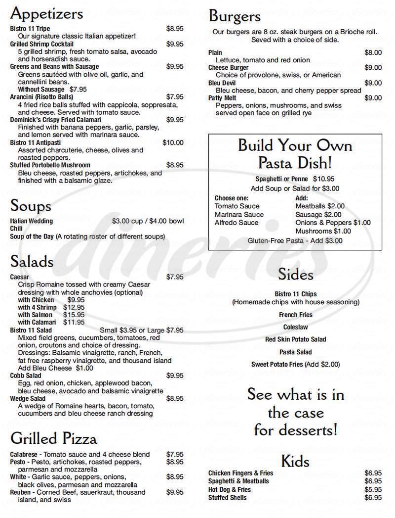 menu for Bistro Eleven