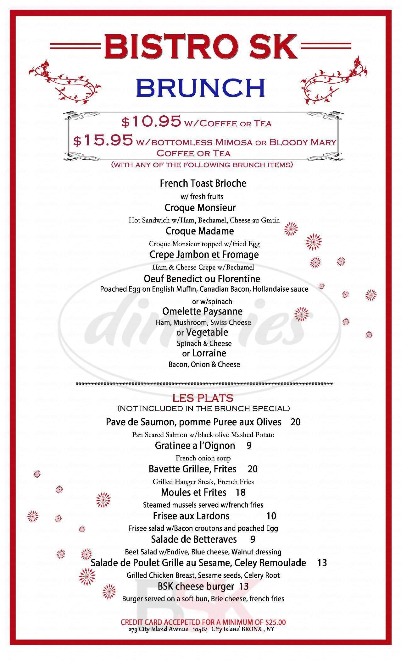 menu for Bistro SK