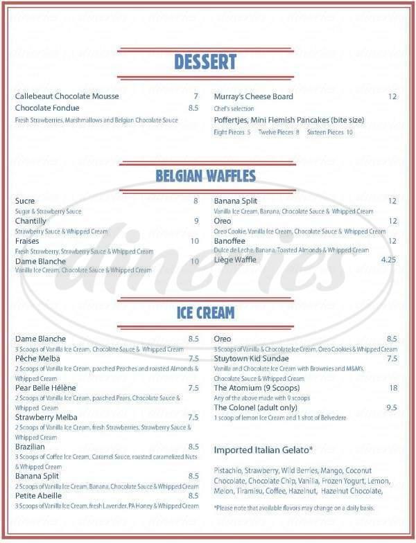 menu for The Bistro Truck