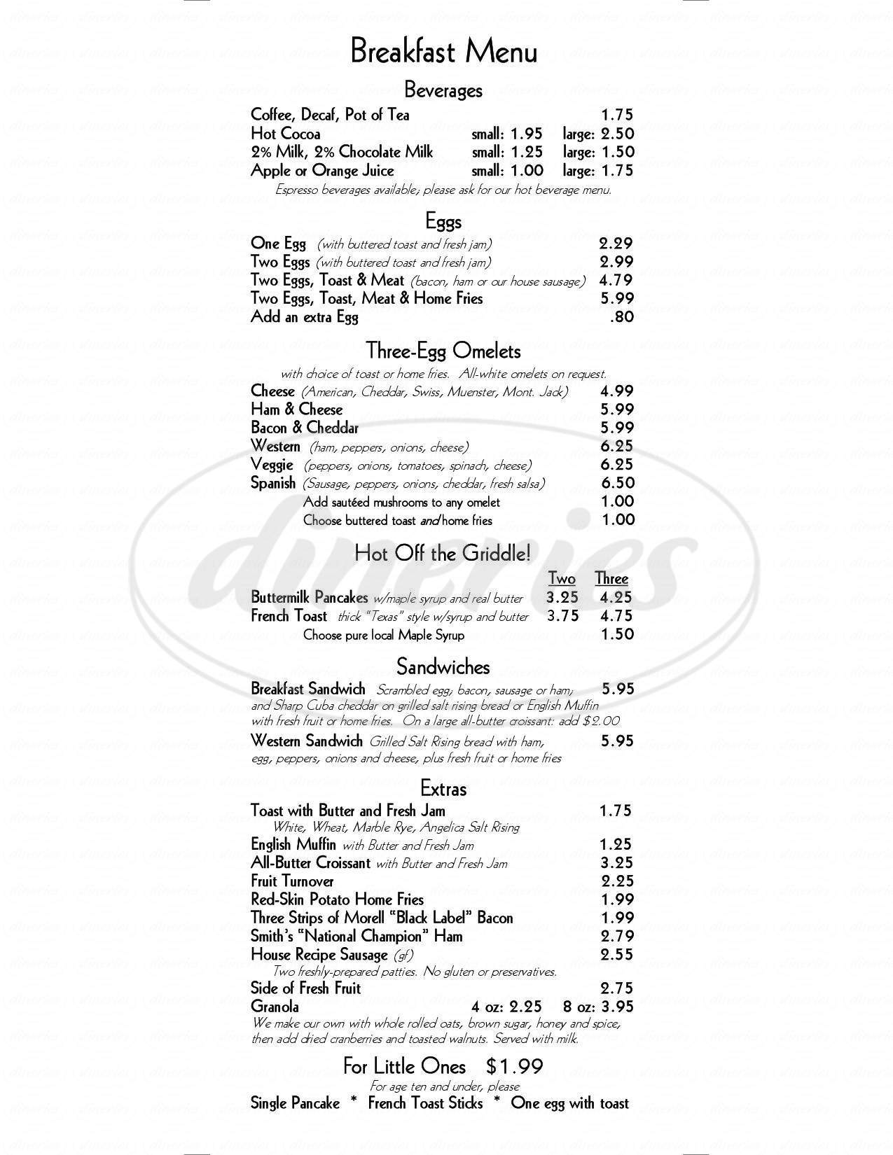 Big menu for Black-Eyed Susan Acoustic Cafe, Angelica