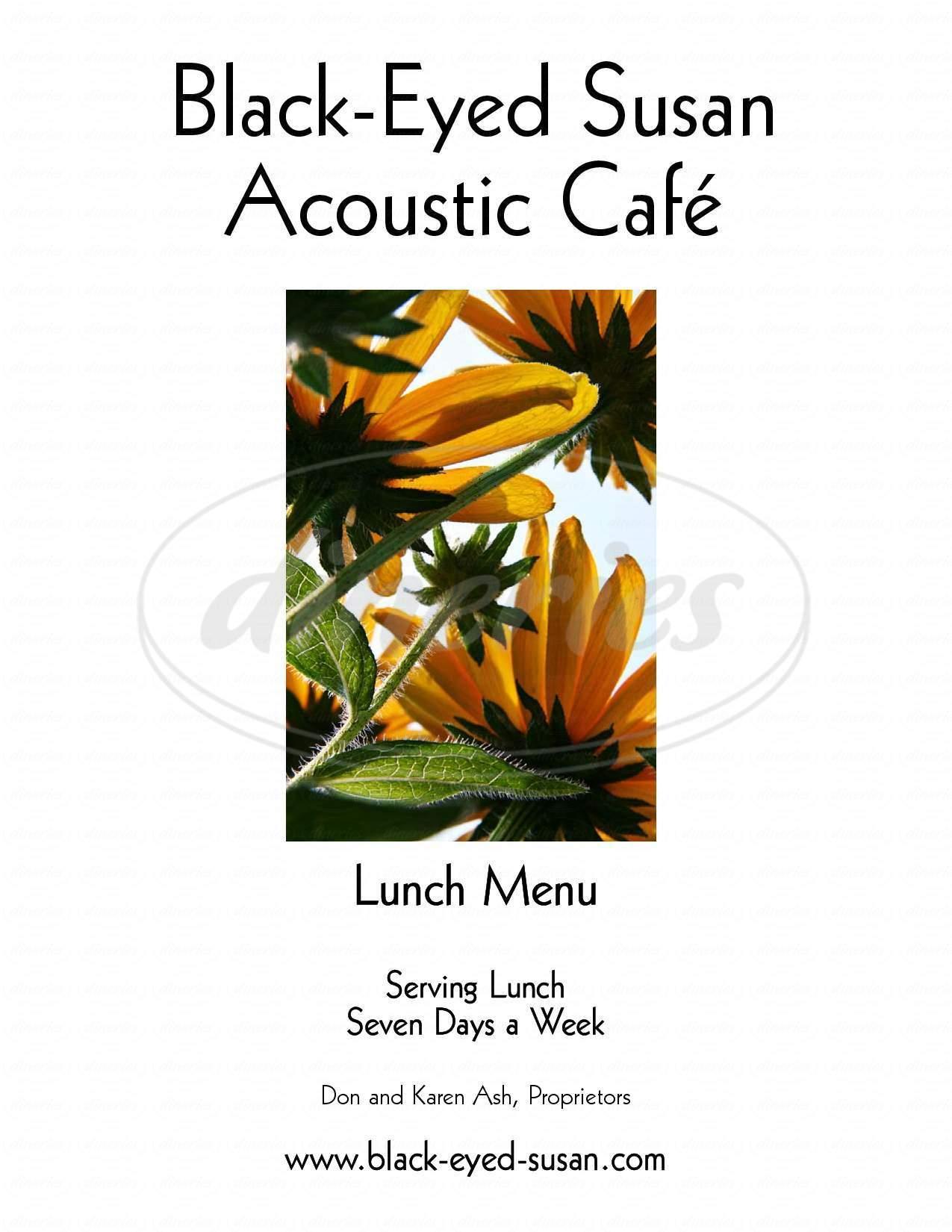 menu for Black-Eyed Susan Acoustic Cafe