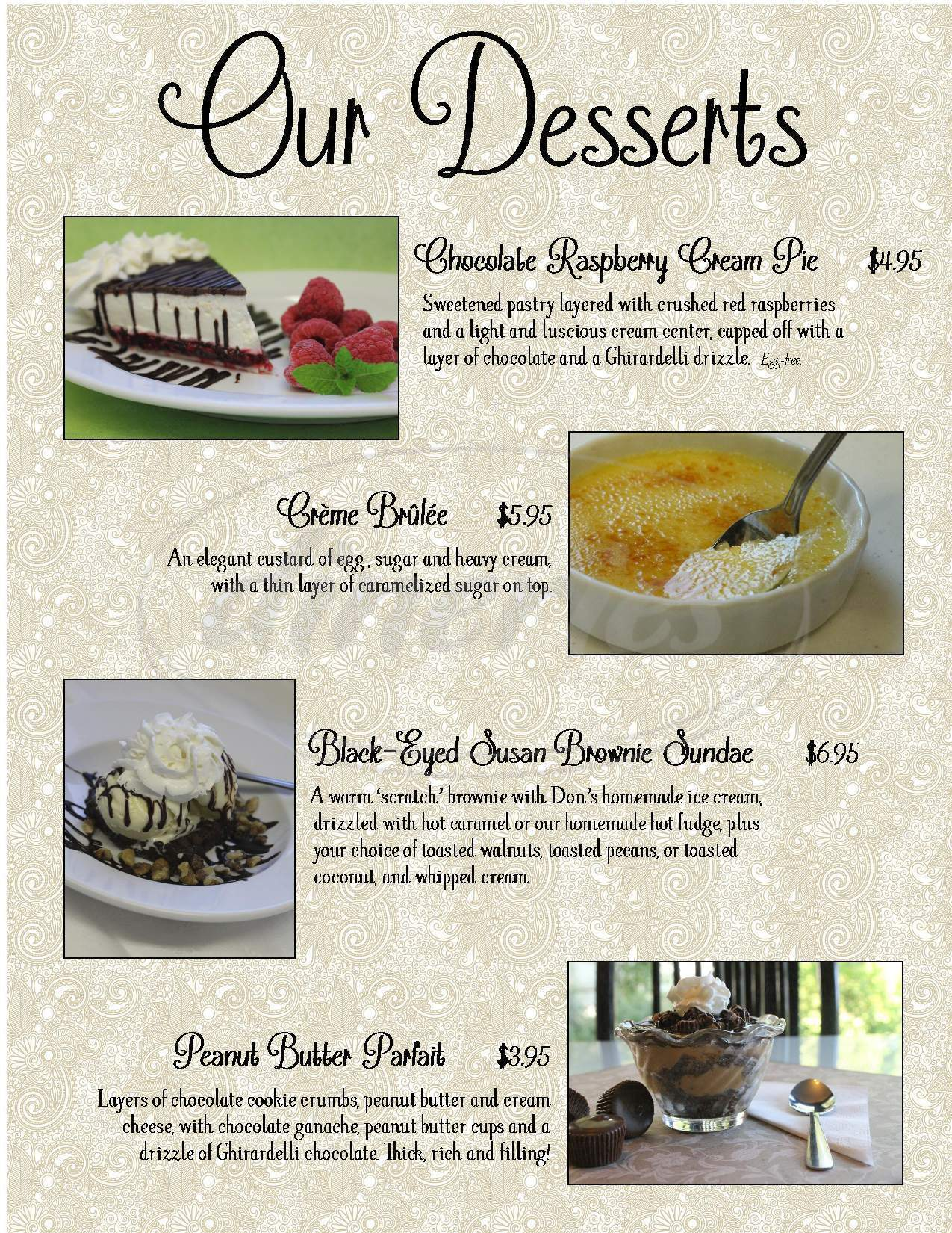 menu for Black-Eyed Susan Acoustic Cafe