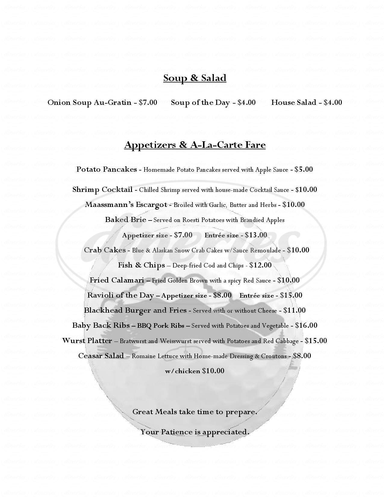 menu for Blackhead Mountain Lodge and Country Club
