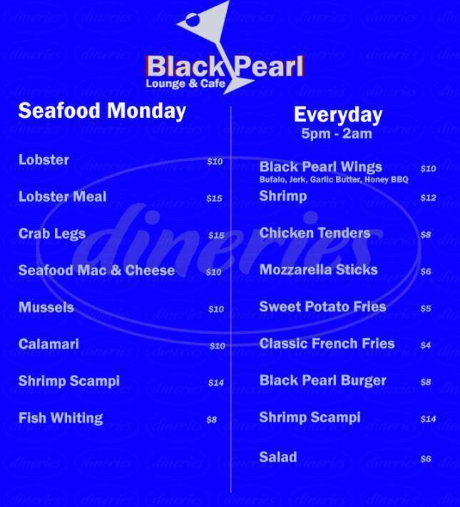 menu for Black Pearl Lounge & Cafe