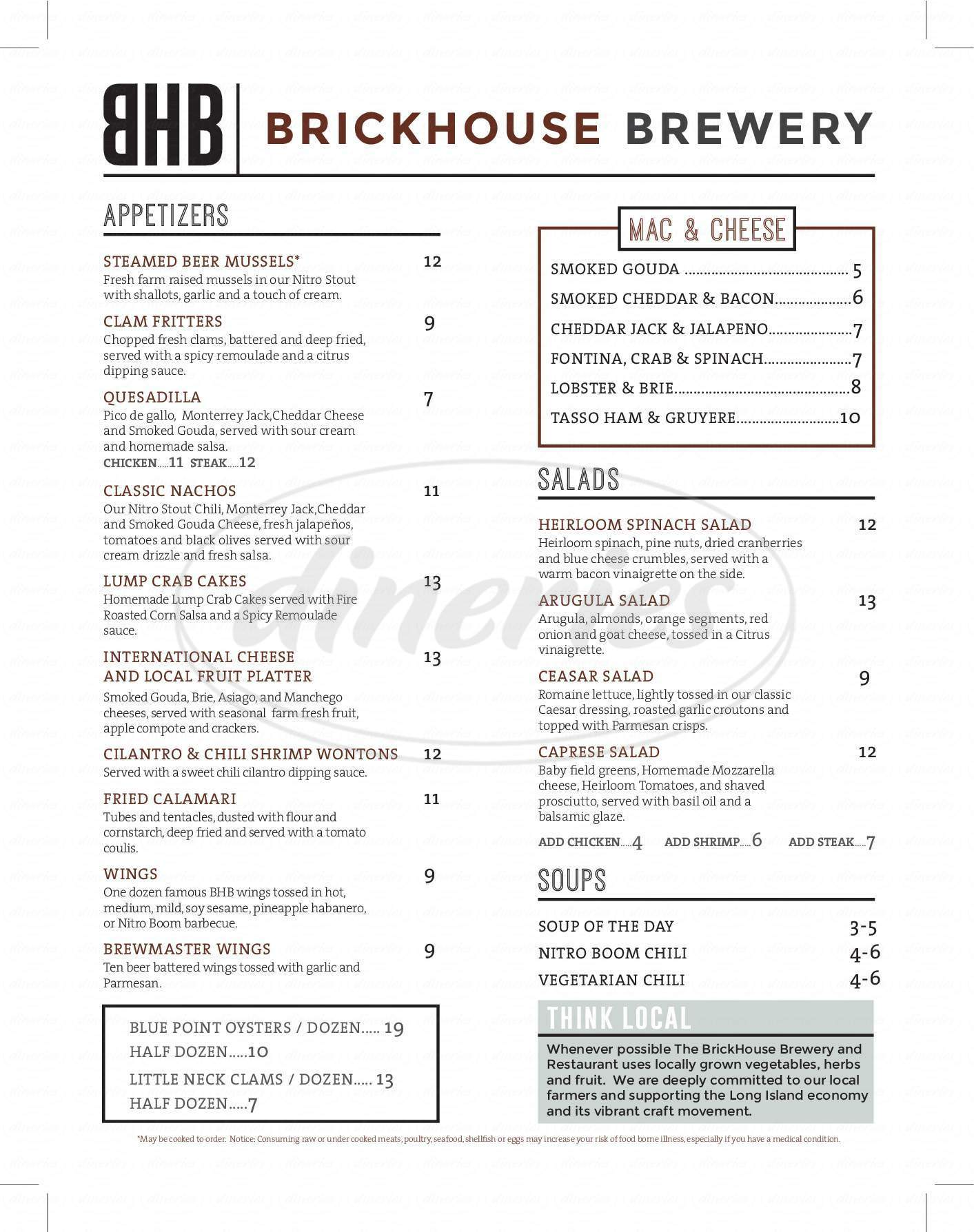menu for BrickHouse Brewery & Restaurant