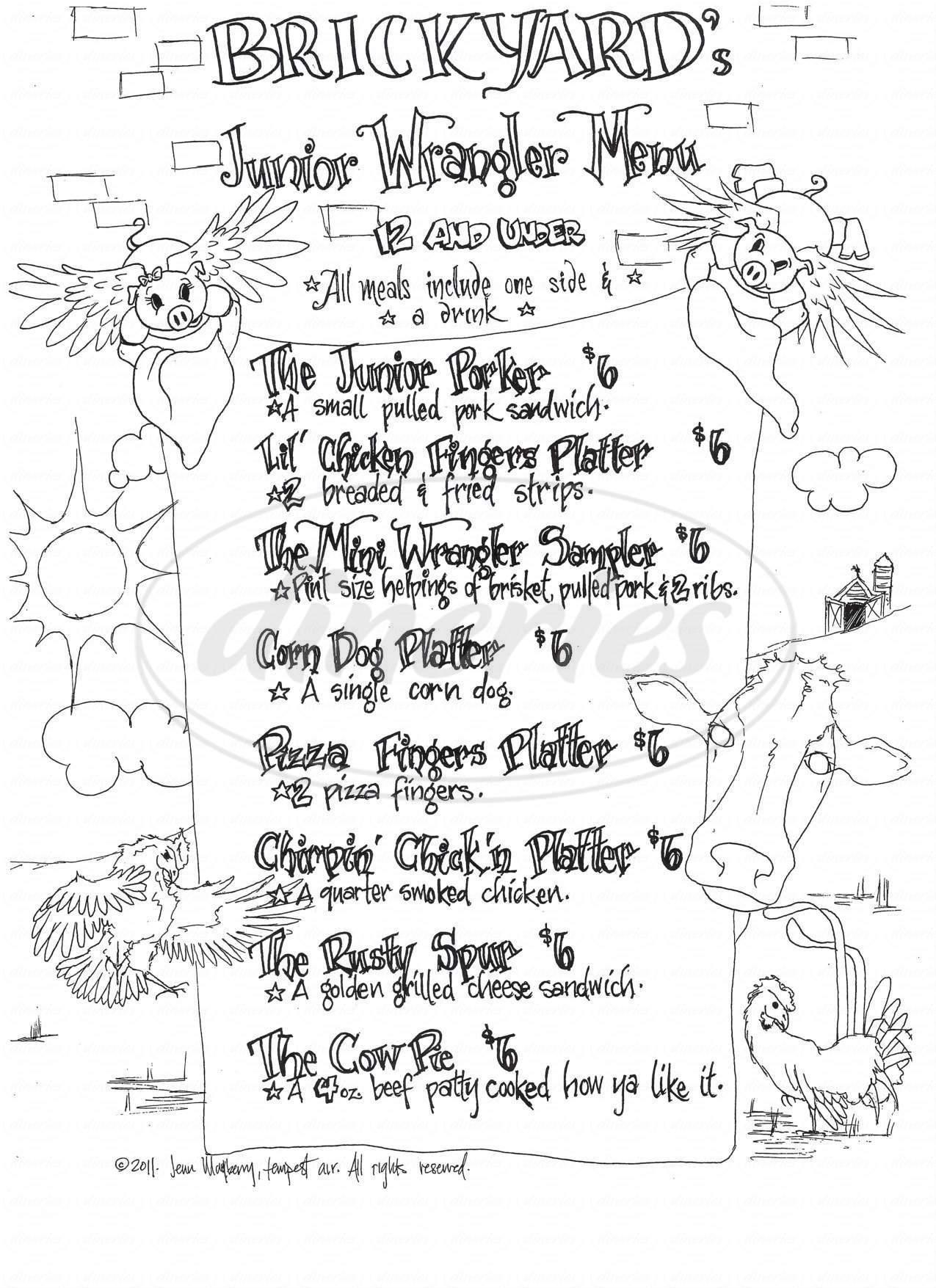 menu for Brickyard Pub And BBQ