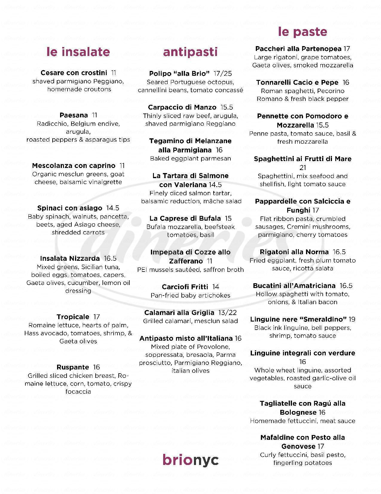 menu for Brio