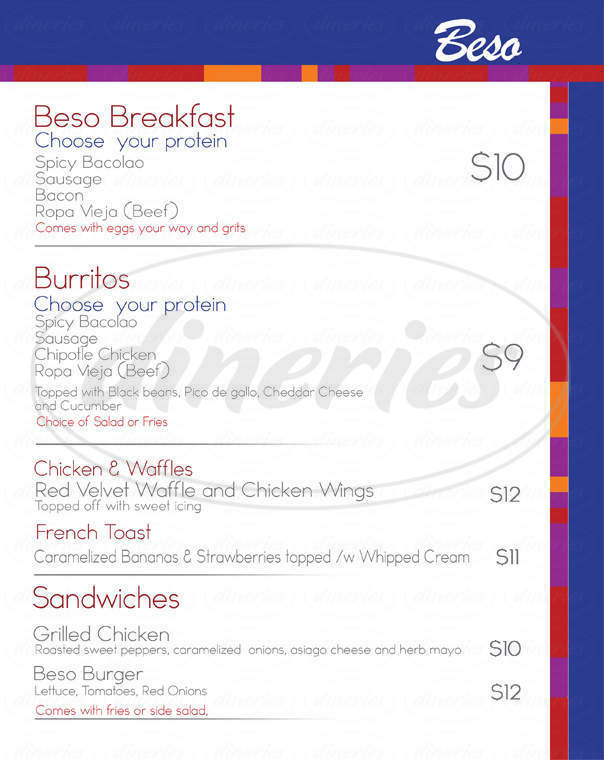 menu for Brooklyn Beso Restaurant & Bar