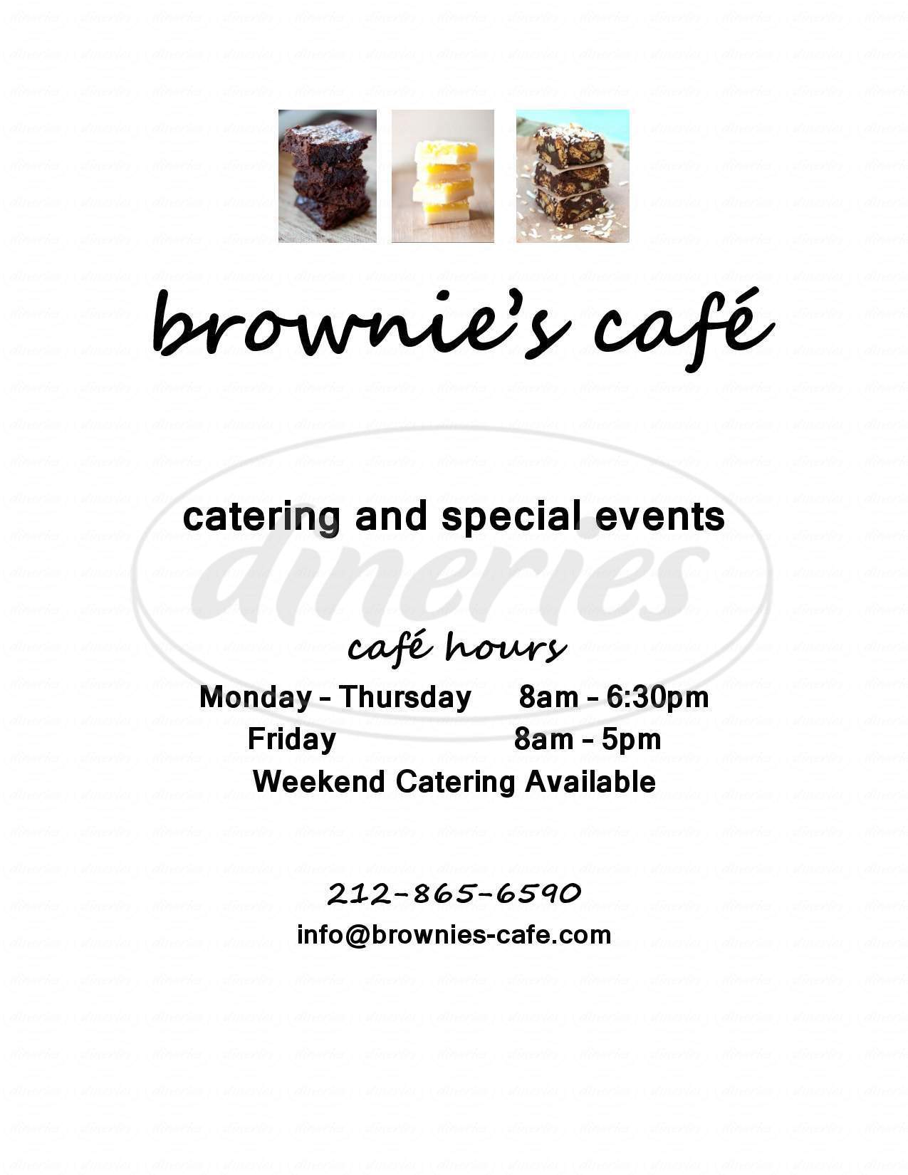 menu for Brownie's Cafe