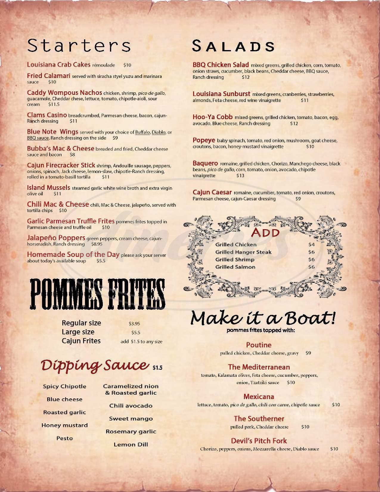 menu for Bubba's Bistro