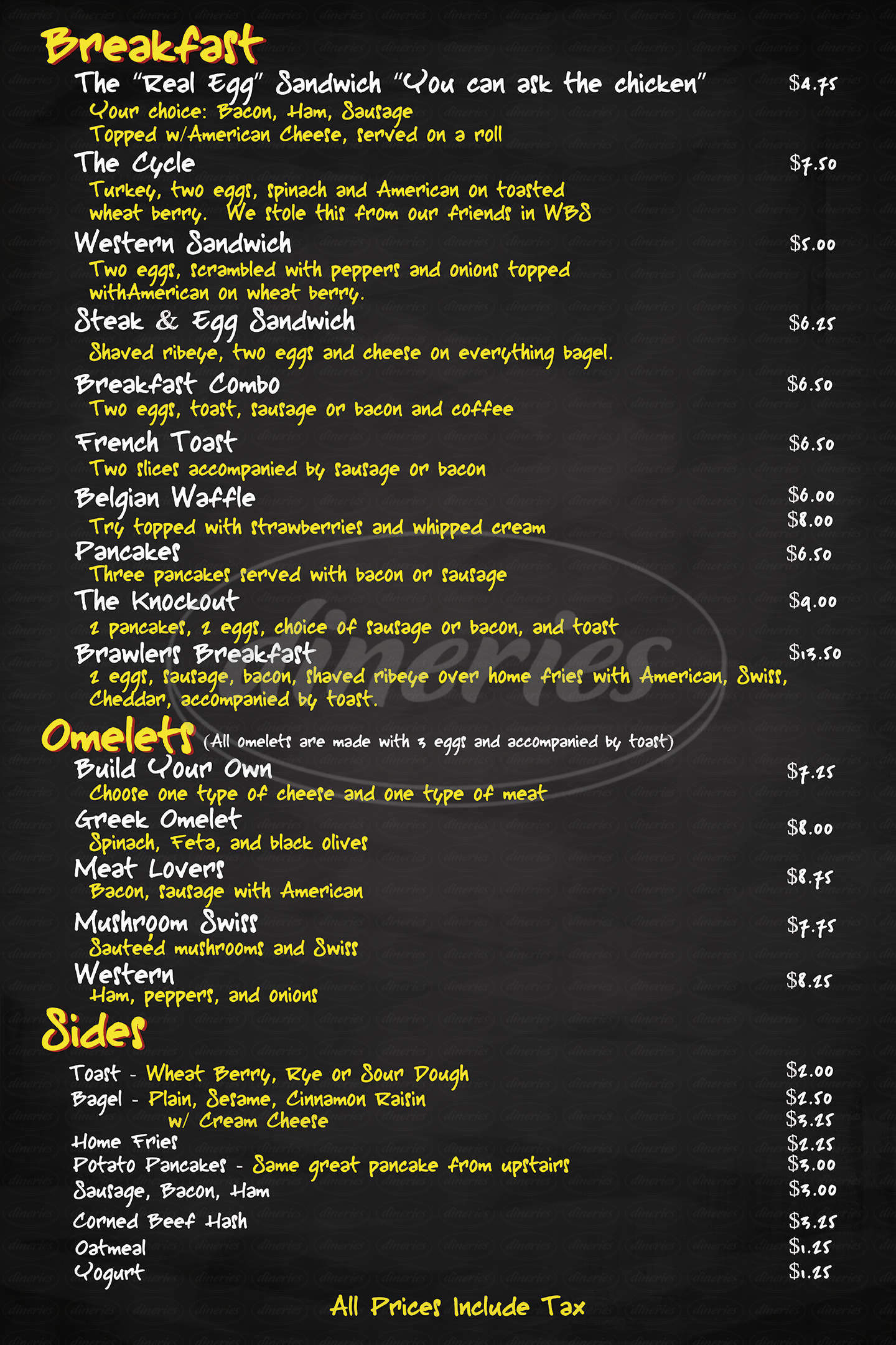 menu for Brawler's Back Alley Deli