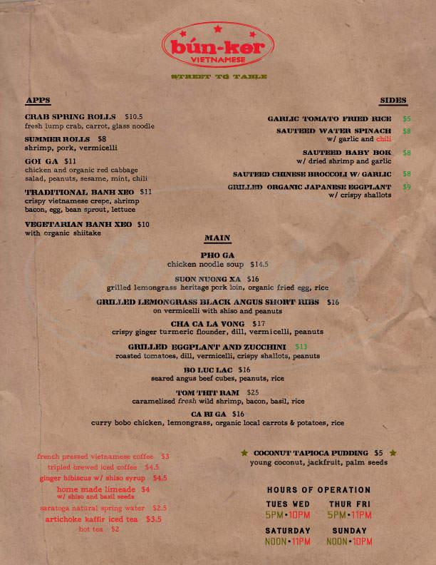 menu for Bunker Vietnamese