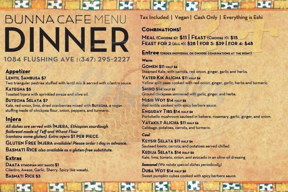 menu for Bunna Cafe