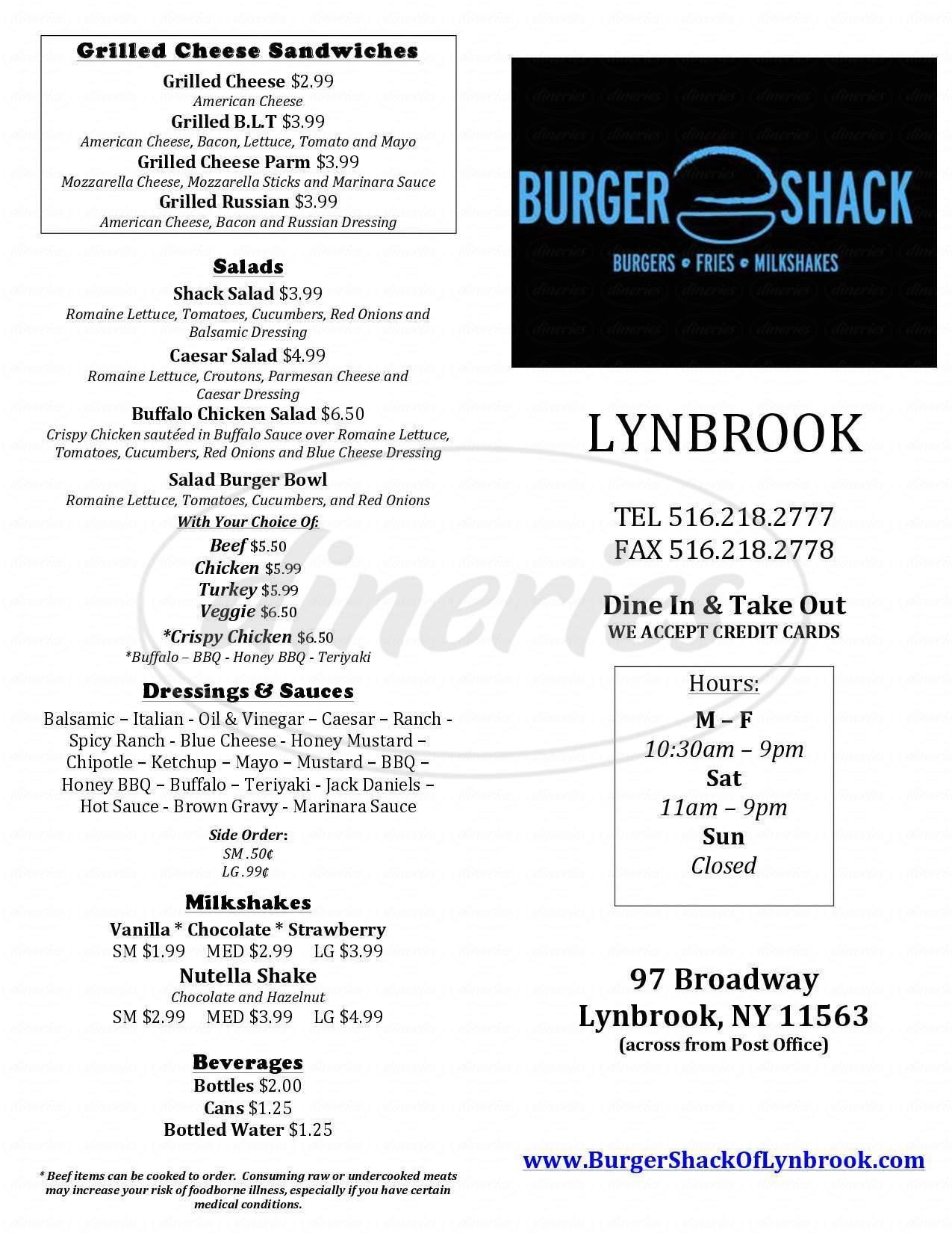 menu for Burger Shack