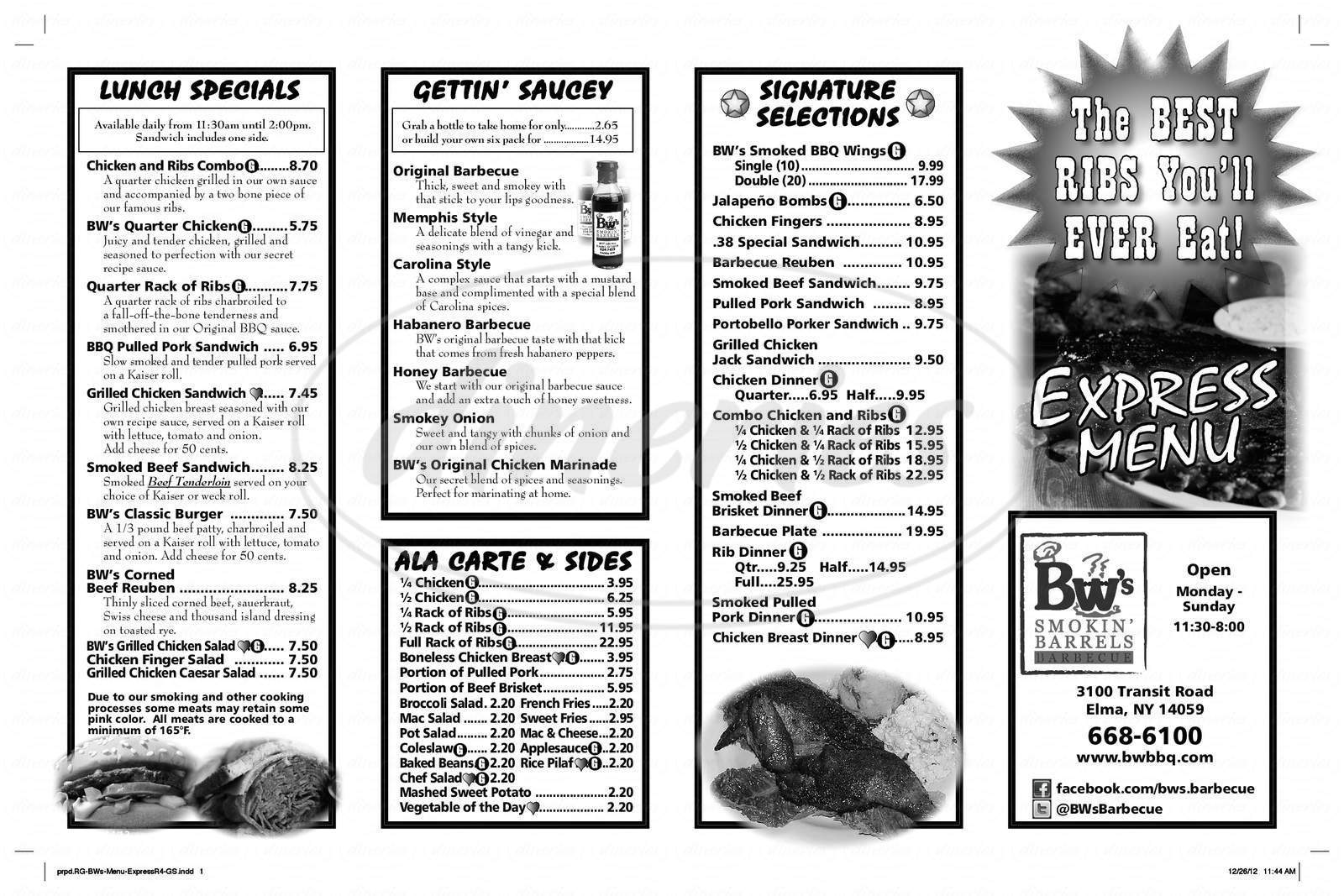 menu for BW's Barbecue Express